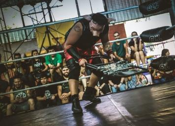Chancho Felipe con su máscara, en Sala de Campeones
